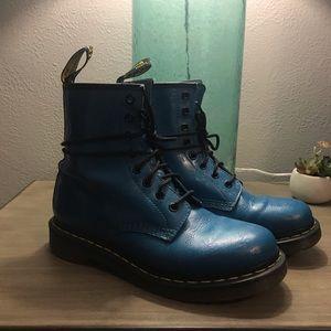 Dr. Martens Shoes - Blue tooled floral Doc Martins